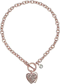 GUESS Logo Overlay On Pave Heart Charm Toggle Front Necklace