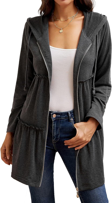 GRACE KARIN Womens Long Sleeve Zip up Hoodies Dress A Line Tunic Sweatshirt Long Hoodie Jacket with Pockets (S-2XL)