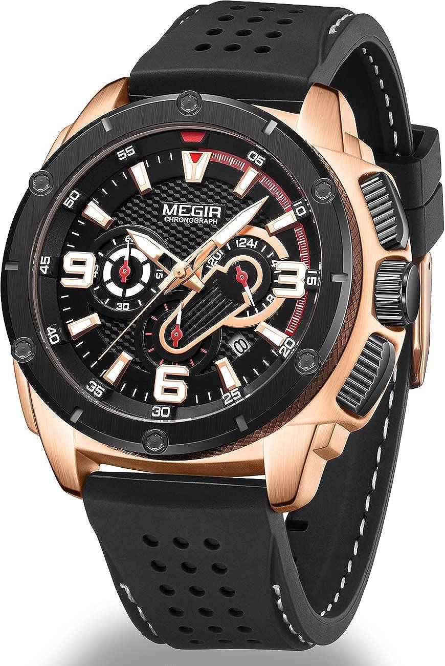 Megir - Reloj deportivo de cuarzo para hombre, con cronógrafo, luminoso, calendario automático, función impermeable, correa de silicona