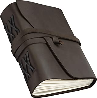 Leather Journal for Men Women - Leather Bound Journal - Genuine Brown Leather Travel Journal - Personalized Sketchbook - Refillable Soft Diary - Real Handmade Vintage Writing Notebook - Journal Set
