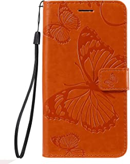 Simple Flip Case Fit for iPhone XS, orange Leather Cover Wallet for iPhone XS