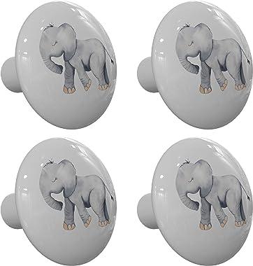 Set of 4 Happy Little Jungle Elephant Drawer Knobs