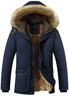 Men's Winter Removable Hooded Frost-Fighter Sherpa Lined Midi Packable Parka Jackets