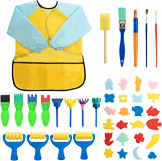 Surplex 42 Piezas Niños Temprano Aprendizaje Esponja Pintura Cepillos Kit, para Niños Pintura DIY Artesanías, Incluye Pinceles de Esponja, Craft Pinceles y Delantal Impermeable con 3 Bolsillos