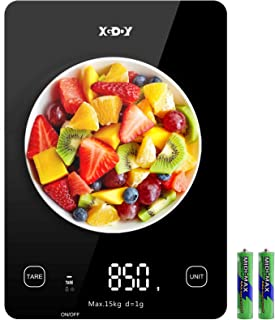 Digital Kitchen Scale 33lb 6 Units Food Scale Digital Weight Grams and Oz, 1g/0.1oz Precise for Cooking, Salter, Baking, Tempered Glass