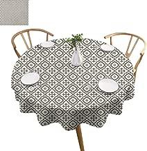 ScottDecor Quatrefoil Table Cover Edwardian Style Vintage Tessellation Pattern in Plain Colors Rich Floral Motifs Print Round Tablecloth Taupe Beige Diameter 60