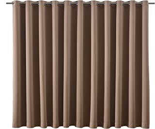 bluCOASTLINE Room Divider Curtain Multiuse Premium Heavyweight Thermal Insulated Wide Width Blackout Curtain Panel Space Division Total Privacy Protection,15ft Wide x 8ft Tall (Tan)