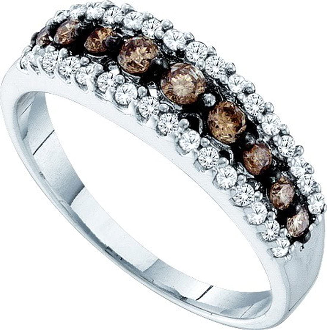 10K White Gold White & Brown Diamond Ladies Anniversary Fashion Ring Band 1/2 cttw Size 7