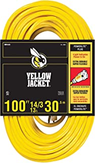 Yellow Jacket 2888 UL Listed 14/3 13 Amp Premium SJTW 100' (30.5M) Extension Cord with Grounded (3 prong) Lighted Receptacle End, 100 Foot, Yellow