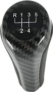 Qiilu Black PU Leather Gear Shift Knob Shift Level Stick Head for BMW E46 M3 1999-2006