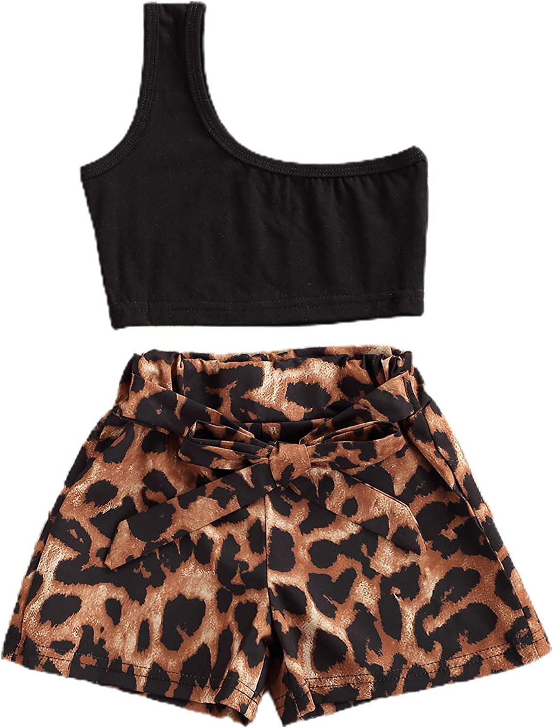 Toddler Baby Girls Summer Clothes One Shoulder Sleeveless Crop Tops Leopard Shorts 2 Piece Outfits Set