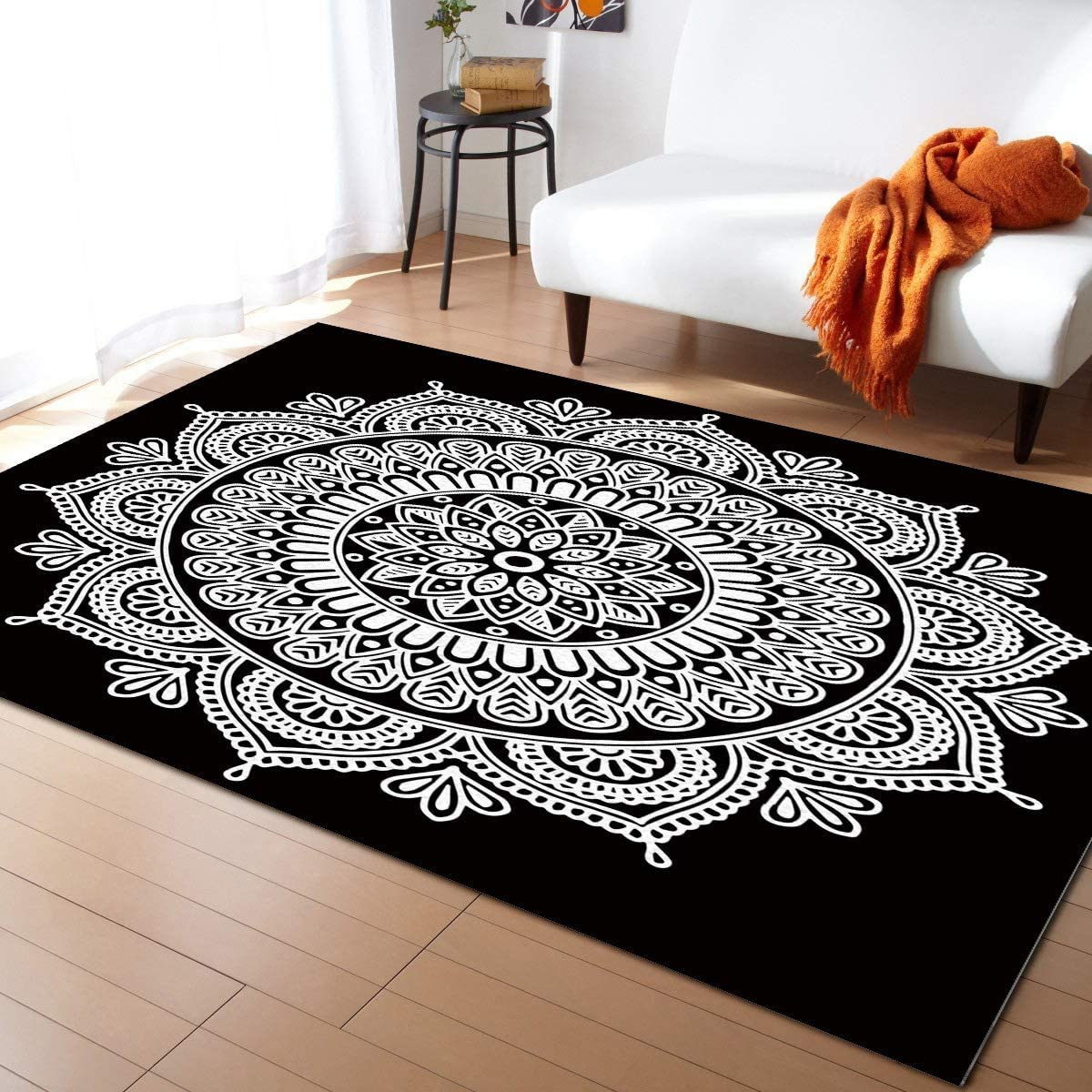 Olivefox 4x6 Feet Floor Mat Area B on White Mandala Department Safety and trust store Rug Pattern
