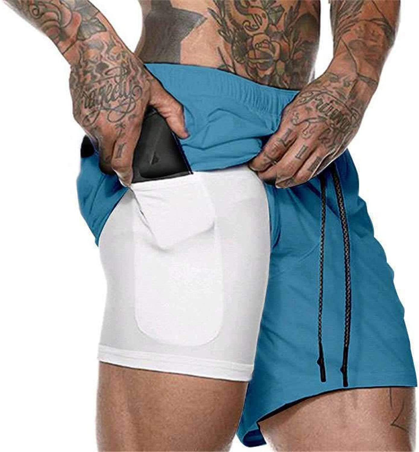 Segindy Men's Fashion Stitching Beach Shorts Summer Double Layer Breathable Comfortable