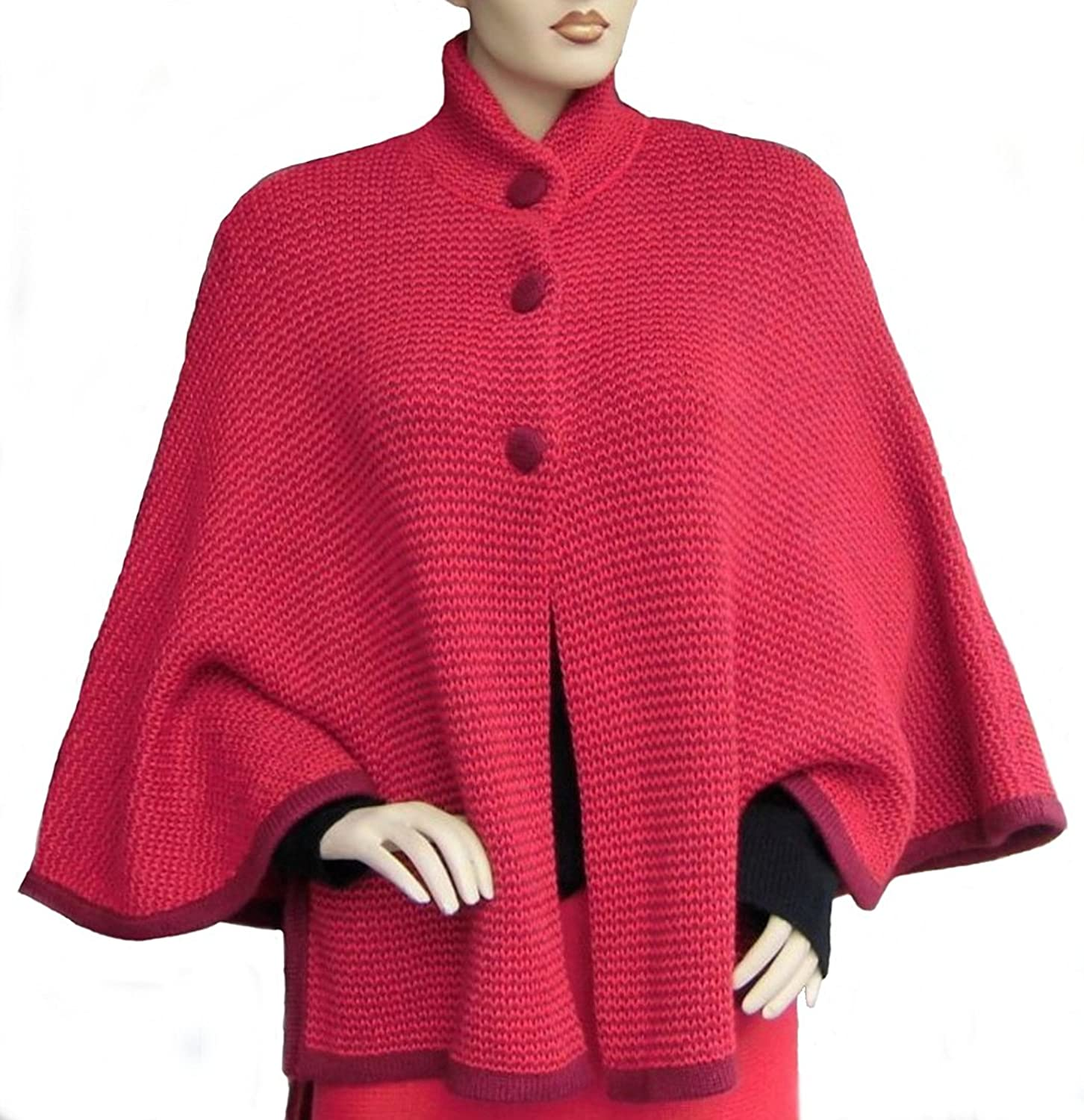 Alpakaandmore Womens Alpaca Wool Poncho Cape One Size Red Nehru Neck