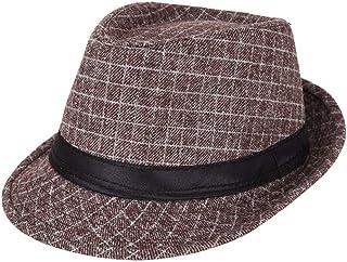 AIEOE - Sombrero Hombre Boda Panamá Jazz con ala Ancha Gorro de Copa Disfraz Trilby Hat Adulto Caballeros Sombrero Inviern...
