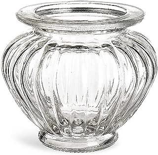Annastore 12 x Windlichter aus Glas im Vintage-Look H 9 cm bauchig - Teelichtgläser Kerzengläser 12 Gläser