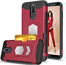 Huawei Mate 10 lite/Huawei Nova 2i Case With HD Phone Screen Protector,Ymhxcy [Card Slots Wallet Holder] Magnetic Car Mount Armor Dual Layer Shockproof Cover For for Mate 10 lite(5.9