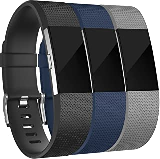 Amzpas for Fitbit Charge 2 Bands, 3 Pack, Small Large Adjustable Replacement Accessory Wristbands Bracelet for Fitbit Charge 2 Women & Men