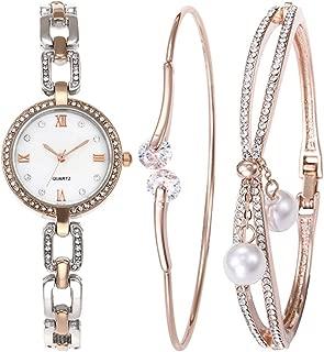 Souarts Women Watch Set-Rhinestone Round Quartz Chain Watch Bracelet Jewelry Set Rose Gold Color Silver Color