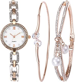 Souarts Women Watch Set-Rhinestone Round Quartz Chain Watch Bracelet Jewelry Set Rose Gold Color Silver Color