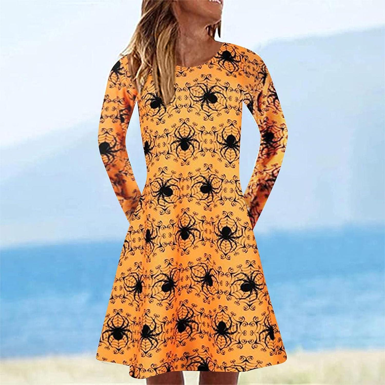 Gerichy Womens Halloween Dresses Casual Long Sleeve Plus Size Pumpkin Ghost Printed Dress Sexy Bodycon Mini Black Dress
