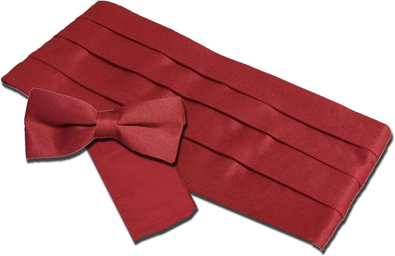 Broadway Tuxmakers Men's Burgundy Satin-Look Cummerbund, Bow Tie & Pocket Square