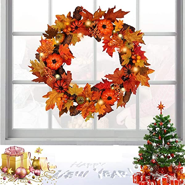 Lshylock Artificial Fall Wreath Autumn Wreath Berry Wreath Fall Maple Leaf Pumpkin Wreath Artificial Harvest Wreath For Door Decoration 23 6 Inch Withlight
