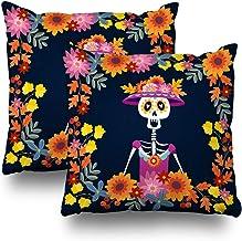 KJONG Dia De Los Muertos Invitation Mexican Day Zippered Pillow Cover,18 x 18 inch Square Decorative Throw Pillow Case Fas...
