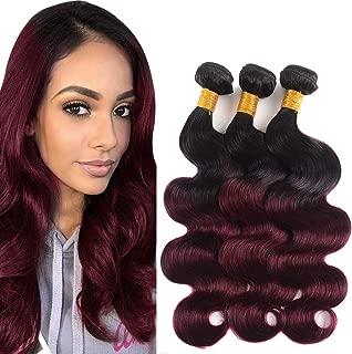 Bk Beckoning Peruvian Ombre Burgundy Bundles 100% Virgin Human Hair Body Wave 14 16 18 Inches 1b/ 99j Black To Wine Red Color 3 Bundles 300g Hair Weave for Women