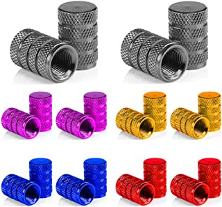 Senven 20 Pcs hochwertige Farbe Aluminium Ventilkappen, Reifenventil Staubkappen Auto, Motorrad, Lkw, Fahrrad verhindern Luftleckage   Universal Reifenventilkappen, Aluminium