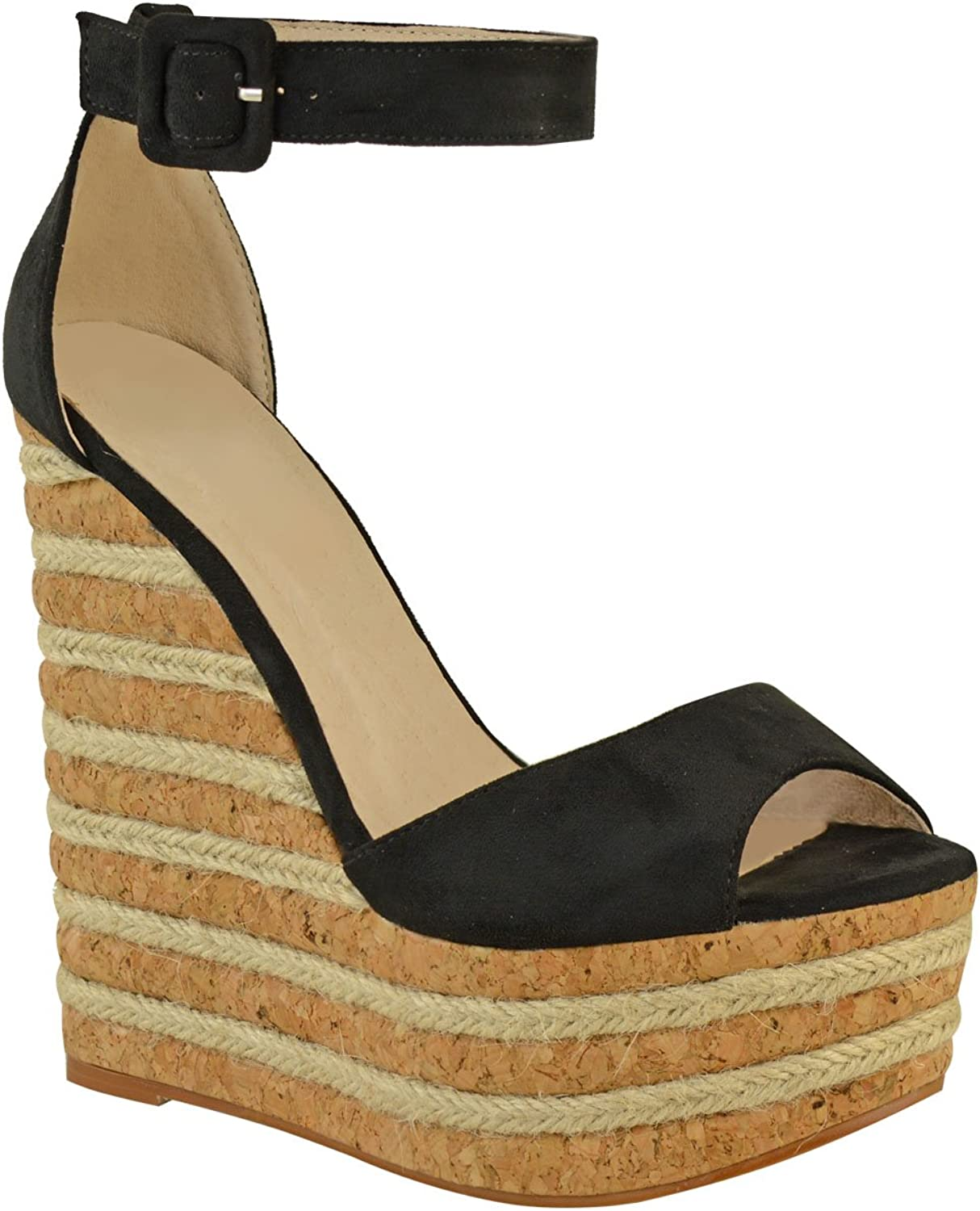 Fashion Thirsty Womens High Heel Wedge Summer Sandals Espadrilles Party Size 5