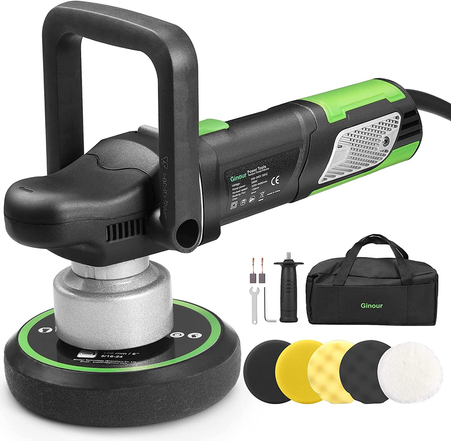Ginour Polisher All items in Some reservation the store 900W 6-inch Variable O Random Speed Dual-Action