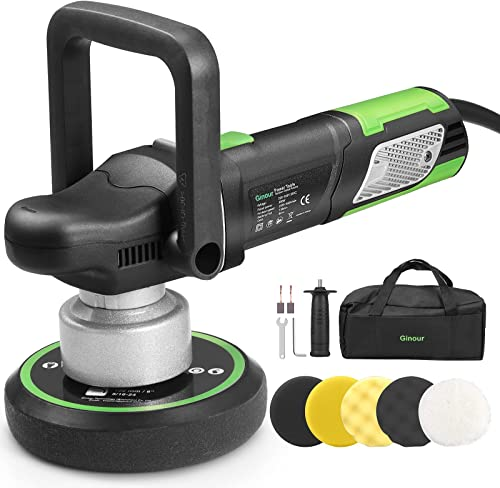 discount Ginour new arrival Polisher, 900W online sale 6-inch Variable Speed Dual-Action Random Orbit Vehicle Polishing Tool, Car Buffer Polisher with D & Side Handle, 6400RPM, Packing Bag, 5 Foam Disc for Car Polishing and Waxing online sale