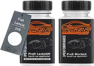 TRISTARcolor Autolack Lackstift Set für FIAT/Lancia 249 Bianco Banchisa/Bianco Santerellina Basislack Klarlack je 50ml