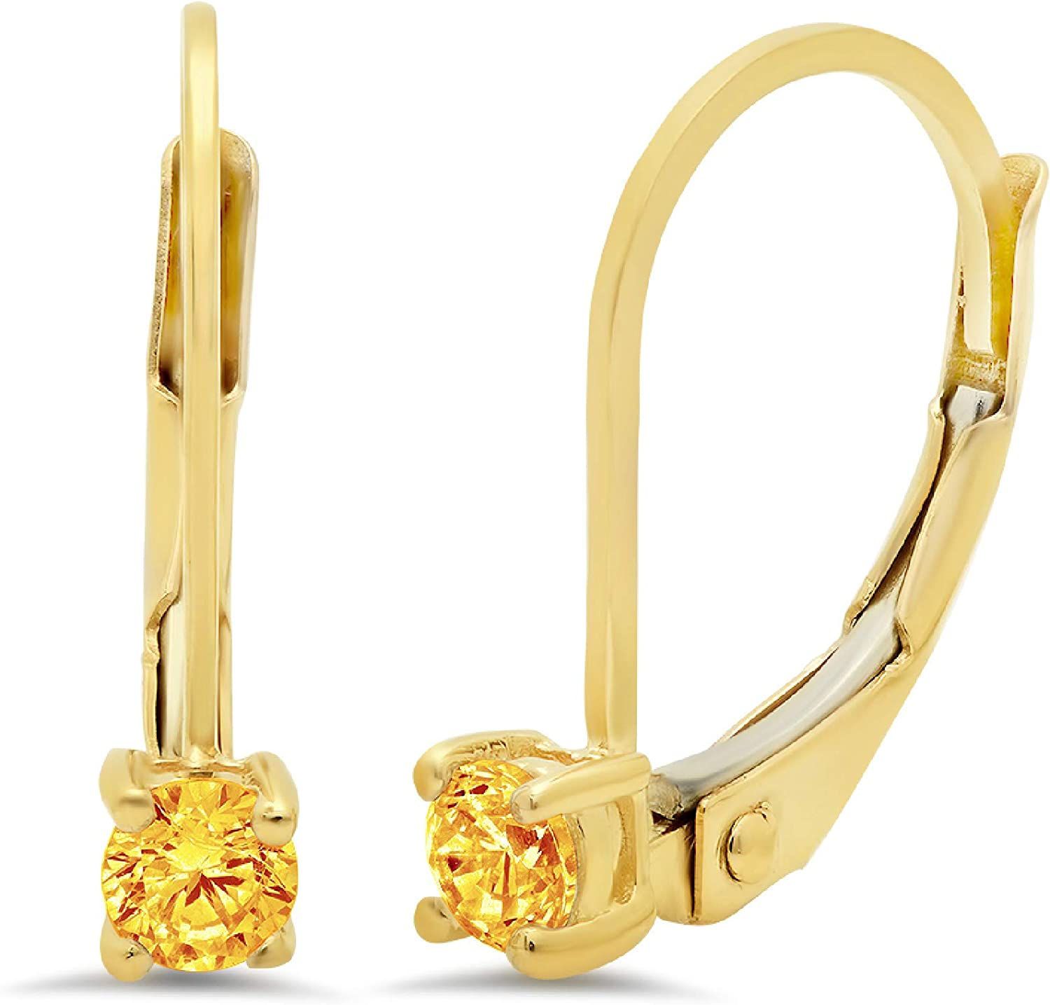0.4ct Round Cut Solitaire Natural Yellow Citrine gemstone Unisex Designer Lever back Drop Dangle Earrings Solid 14k Yellow Back conflict free Jewelry