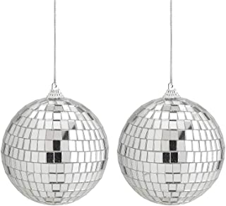 Kicko Mirror Disco Balls - 4 Inch Silver Hanging Ornaments - for Home Decorations, Stage Props, Game Accessories, School F...