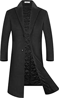 Men's Luxury Full Length Wool Trench Coat Regular Fit Warm Cotton Lining Wool Overcoat