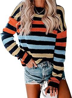 Women's Stripe Color Block Short Sweater Long Sleeve...