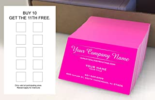 Custom Loyalty Cards 500 pcs- Customize (front&back), Two Line Design, Pink - Classic matte paper 14pt (114 lbs. 308gsm-Thick Paper) Offset Printing, Made in The USA