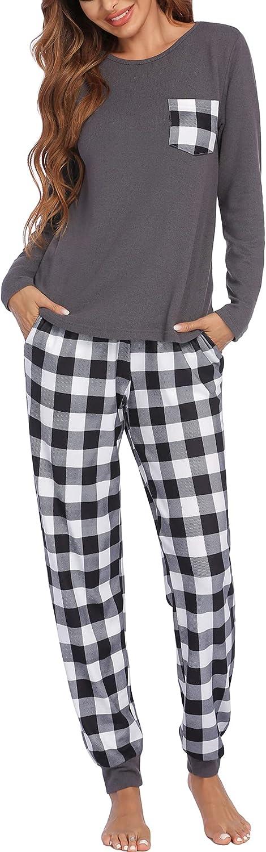 Ekouaer Womens Pajama Set Long Sleeve Sleepwear Plaid Print Pants Nightwear Soft Pjs Lounge Sets with Pockets