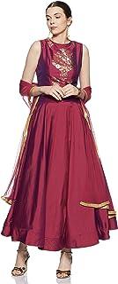 BIBA Red Art Silk Kalidar Suit Set