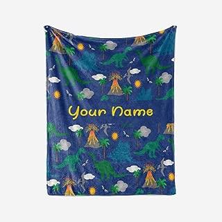 Personalized Corner Custom Dark Blue Dinosaur Fleece Throw Blanket for Kids - Boys Girls Baby Toddler Infants Blankets for Bed (30x40 Inches)