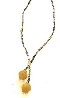 Ethnos Barcelona - Collana lunga con perle di vetro e macramè.
