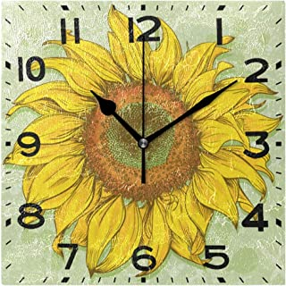 Naanle Stylish Realistic Vintage Sunflower Drawing Print Square Wall Clock Decorative, 8 Inch Battery Operated Quartz Analog Quiet Desk Clock for Home,Office,School
