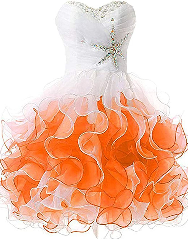 CIRCLEWLD Beaded Homecoming Dresses Ruffles Crystal Prom Dress Short Sweet 16 Juniors H4037