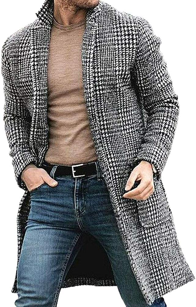 Harvest8 Men Wool Blend Plaid Trench Coat Winter Lapel Single Breasted Mid-Length Jacket Topcoat Outwear