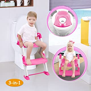 GPCT [Portable] 3-in-1 Kids Toddlers Potty Training Seat W/Step Stool. Sturdy, Comfortable, Safe, Built in Non-Slip Steps W/Anti-Slip Pads. Excellent Potty Seat Step Trainer- Boys/Girls/Baby-Pink