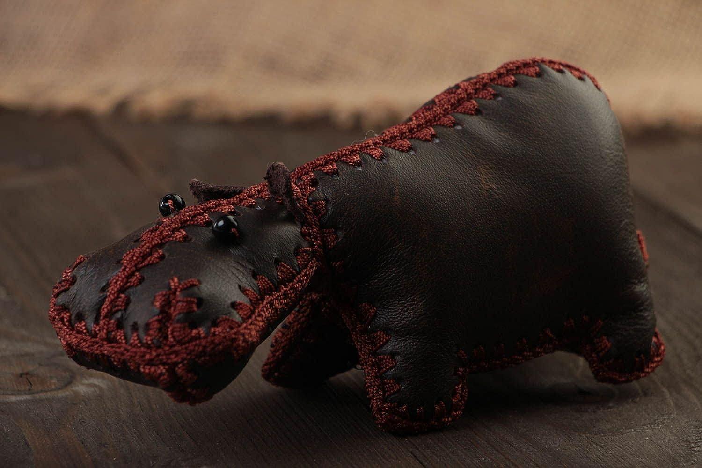 Handmade Designer Soft Toy Hippo Sewn Of Genuine Dark Brown Leather For Interior