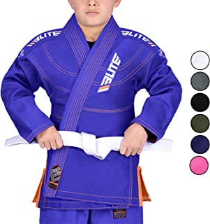 Elite Sports Kids BJJ GI, Youth IBJJF Children's Brazilian Jiujitsu Gi Kimono W/Preshrunk Fabric & Free Belt