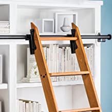 Rockler Classic Rolling Library Ladder Kit, 8'H with 12' Track, Satin Black